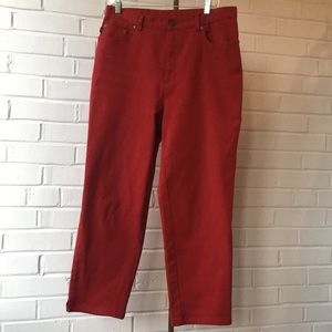 Ralph Lauren Red Denim Capri Jeans Sz 12